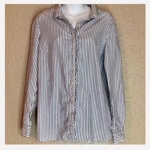 Gap Gray and White Button Down Striped Top Large